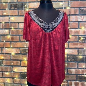 AGB Woman Silky Red Blouse with Pretty Design